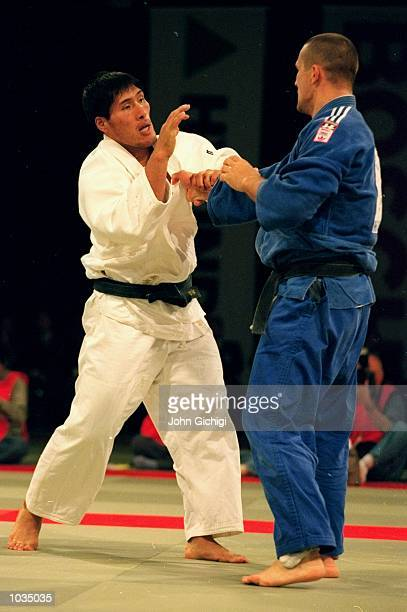 Shinichi Shinohara of Japan wins the 100 KG Mens title during the 1999 Hyundai Judo World Championships held at the National Indoor Arena in...