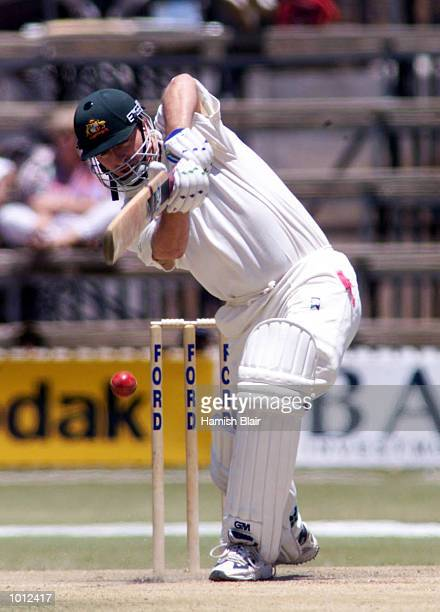 Steve Waugh of Australia drives for four during day two of the one off test match between Zimbabwe and Australia at Harare Sports Club Harare...