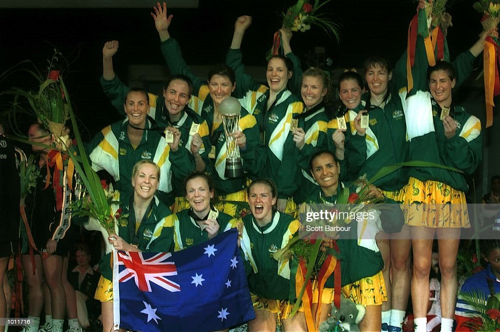 The Australian team celebrate after winning the Final of the 1999 World Netball Championships held at the WestPac Trust Centre, Christchurch, New Zealand. Australia defeated New Zealand 42-41. Mandatory Credit: Scott Barbour/ALLSPORT