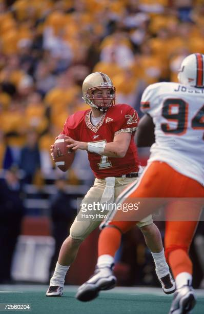 Tim Hasselbeck of the Boston College Eagles gets ready to pass the ball against the Miami Hurricanes at Alimni Stadium in Boston Massachusetts The...