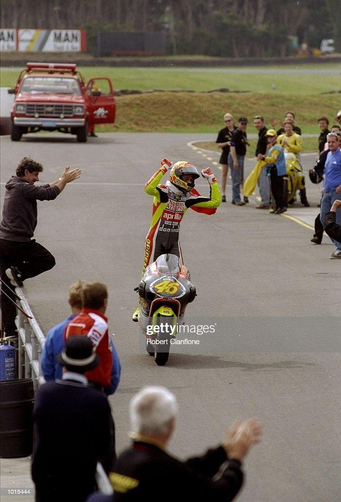 Valentino Rossi of Italy celebrates his win in the 250cc race during the Australian Motorbike Grand Prix held at Phillip Island in Victoria, Australia. \ Mandatory Credit: Robert Cianflone /Allsport