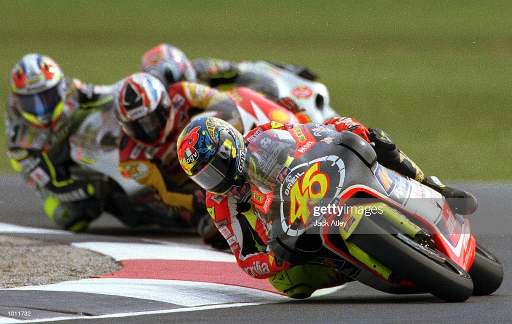 Valentino Rossi #46 of Italy rounds Honda corner ahead of the pack, on his way to victory in the 250cc class race at the 1999 Australian Motorbike Grand Prix at Phillip Island, Victoria, Australia. Mandatory Credit: Jack Atley/ALLSPORT