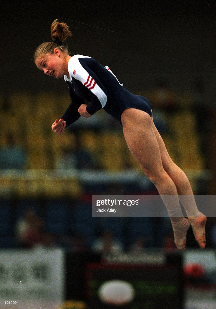 Vanessa Atler of the United Sates flies through the air during her floor routine during the womens qualifying round at the 1999 Tianjin World Gymnastics Championships, Tianjin, China. The United Sates finished fifth overall and Atler seventhoverall after the womens qualifying sessions. Mandatory Credit: Jack Atley/ALLSPORT