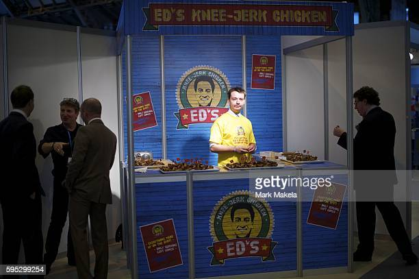 Oct 2 2011 Manchester England UK A satirical jerk chicken stand depicts Labour leader ED MILIBAND during the Conservatives Party Conference at...