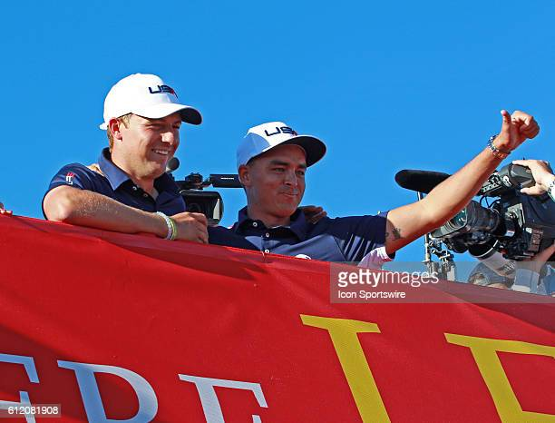 Chaska MN USA Jordan Spieth and Rickie Fowler celebrate on a bridge after winning the Ryder Cup during the Day 3 Final Round matches for the 2016...