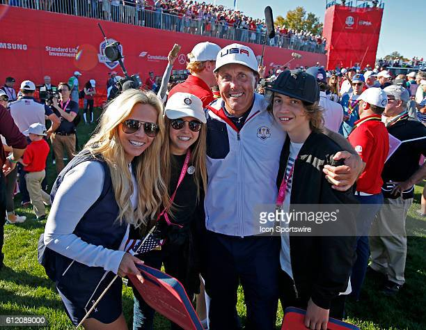 Chaska MN USA Phil Mickelson poses for a photo with his family after Team USA won the Ryder Cup during the Day 3 Final Round matches for the 2016...