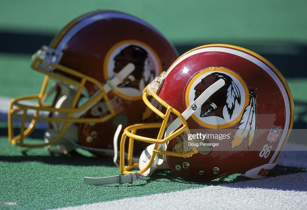 A general view of the helmets of the Washington Redskins and the Philadelphia Eagles after the game at the Veterans Stadium in Philadelphia...