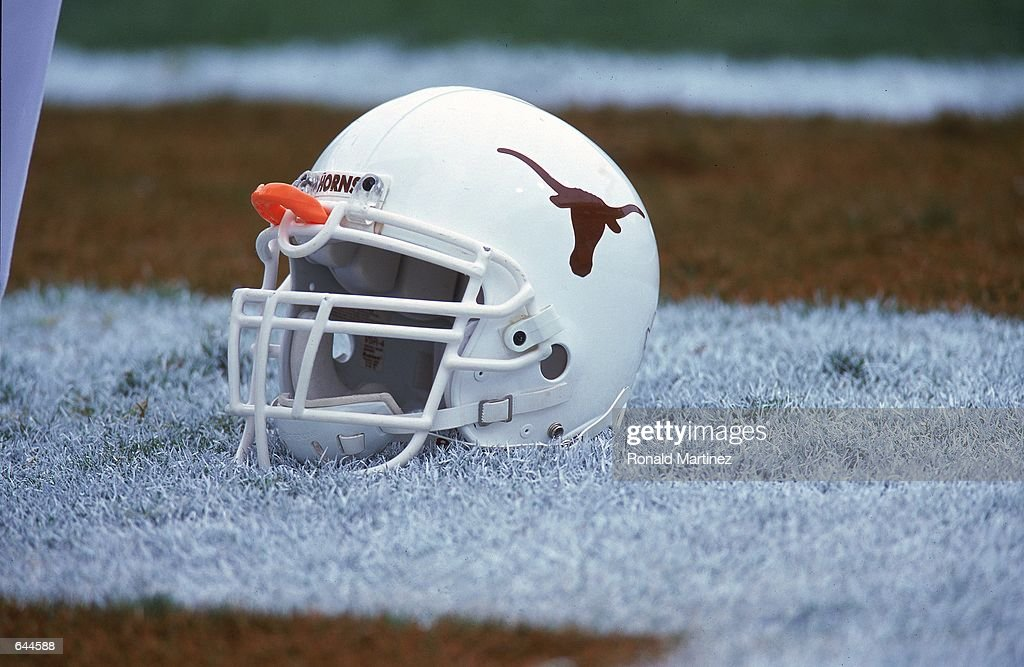A Helmet of the Texas Longhorns during the game against the Missouri Tigers at the Royal Rexas Stadium in Austin Texas The Longhorns defeated the...