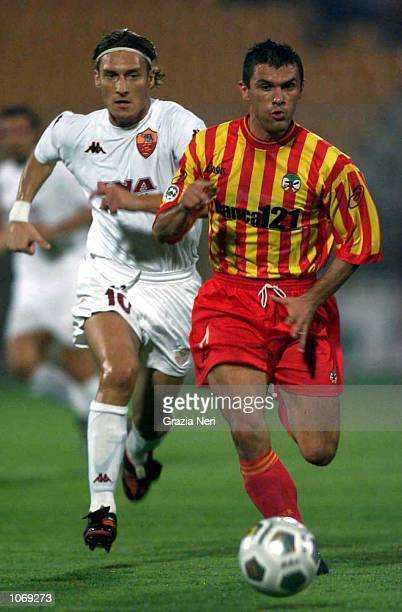 Alessandro Conticchio of Lecce in action during the Serie A league match between Lecce and Roma played at the Via Del Mare Stadium Lecce Italy...