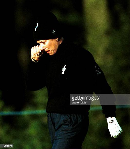 Annika Sorenstam of Europe begins to cry after the ruling that Annika played her shot out of turn during the compeltion of the Fourball matches the...