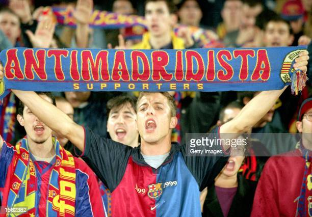 Barcelona fans during the Spanish Primera Liga match against Real Madrid played at the Nou Camp in Barcelona Spain Barcelona won the game 20 Picture...