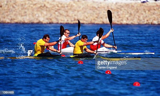 Daniel Collins and Andrew Tim of Australia in action during the Men's K2 500m Final at the Sydney 2000 Olympic Games Sydney Australia Mandatory...