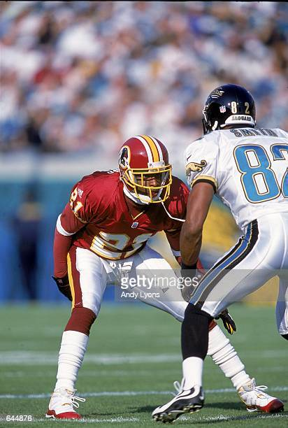 6a95d257e99 ... Deion Sanders of the Washington Redskins goes head to head against  Jimmy Smith of the Jacksonville ...