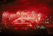 Fireworks over Sydney Harbour Bridge during the closing ceremony of the Sydney 2000 Olympic Games at Sydney Harbour in Australia Mandatory Credit...