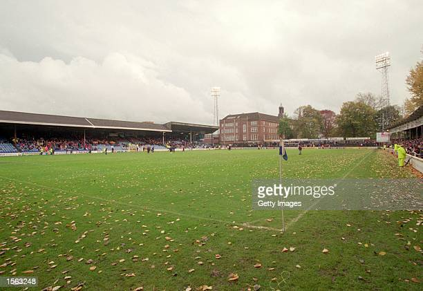 General view of Gay Meadow home of Shrewsbury Town before the Division Three match between Shrewsbury Town and Torquay United played at Gay Meadow in...