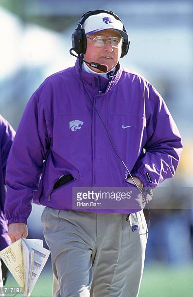 Head Coach Bill Snyder of the Kansas State Wildcats walks on the sidelines during a game against the Kansas Jayhawks at the Memorial Stadium in...