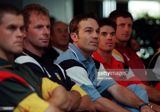 Jamie Cox of Tasmania Tigers Paul Reiffel of Victorian Bushrangers Michael Slater of NSW Blues Michael Kasprowicz of Queensland Bulls and Tom Moody...