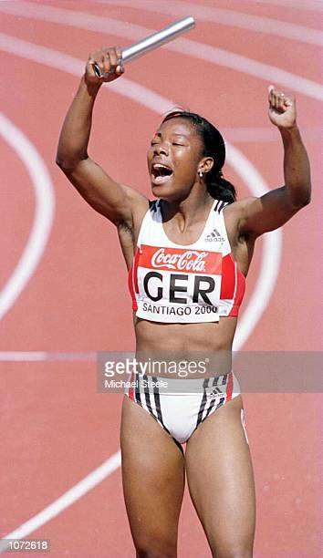 05d1ab7edd Katchi Habel of Germany celebrates winning gold in the womens 4x100m relay  final at the World