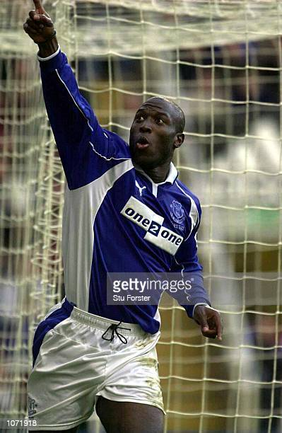 Kevin Campbell of Everton celebrates scoring the only goal of the game during the FA Carling Premiership game between Newcastle United and Everton at...