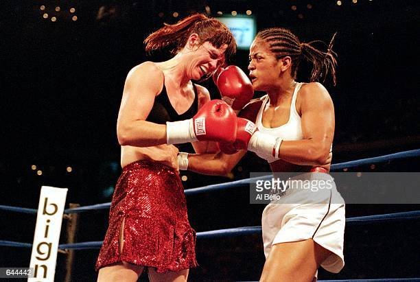Laila Ali lands a right punch during the fight against Kandra Lenhart at The Palace in Auburn Hills Michigan Ali defeated LenhartMandatory Credit Al...