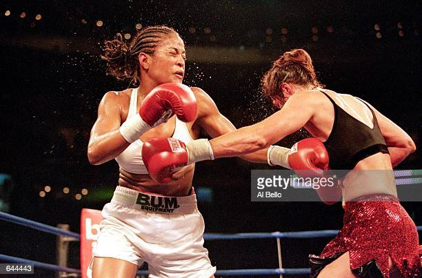Laila Ali throws a left punch during the fight against Kandra Lenhart at The Palace in Auburn Hills Michigan Ali defeated LenhartMandatory Credit Al...