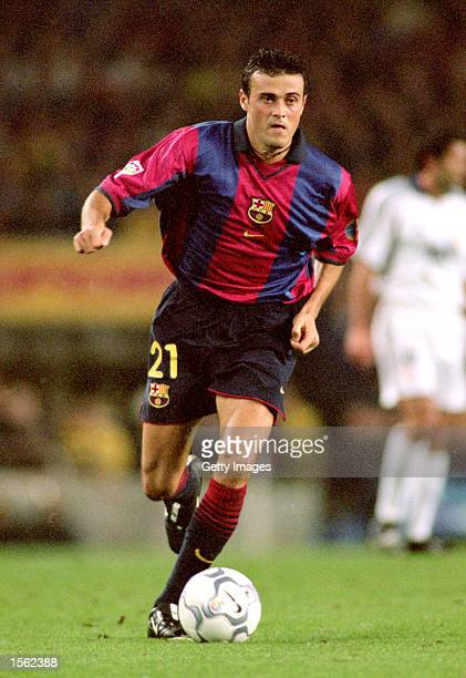 Luis Enrique of Barcelona in action during the Spanish Primera Liga match against Real Madrid played at the Nou Camp in Barcelona Spain Barcelona won...