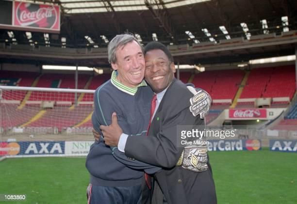 Pele and Gordon Banks during an AXA photocall at Wembley in London Mandatory Credit Clive Mason /Allsport