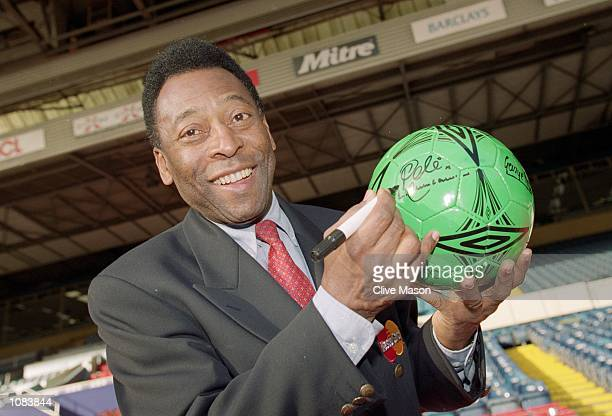 Pele during an AXA photocall at Wembley in London Mandatory Credit Clive Mason /Allsport