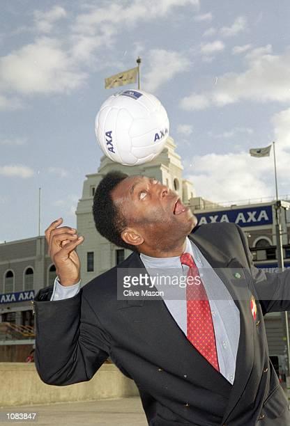 Pele during an AXA photocall at Wembley in London Mandatory Credit Clive Mason /Allsport