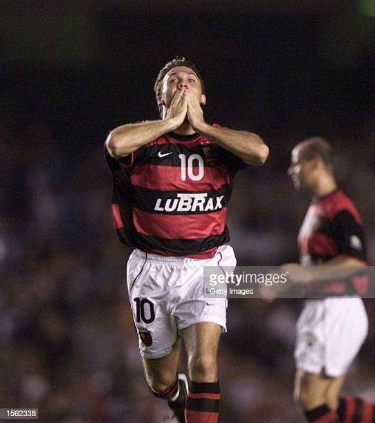 Petkovic of Flamengo celebrates after scoring during the Flamengo v Vasco de Gama Joao Havelange Cup match played at the Maracana Stadium Rio de...