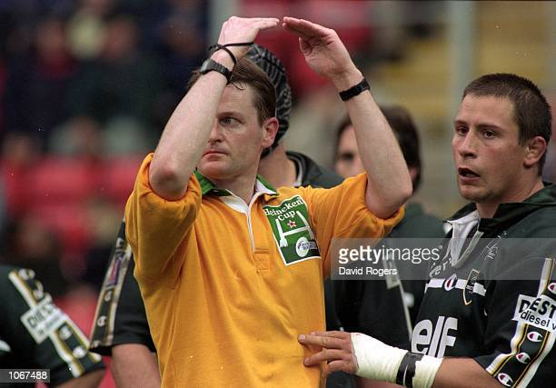 Referee Rob Dixon in charge of the Heineken Cup Pool Match between Leicester and Pau at Welford Road in Leicester England Mandatory Credit Dave...