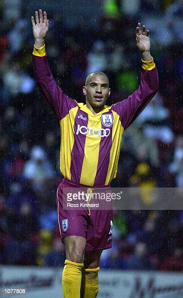 Stan Collymore of Bradford celebrates scoring during the Bradford City v Leeds United FA Carling Premiership match at the Valley Parade Bradford...