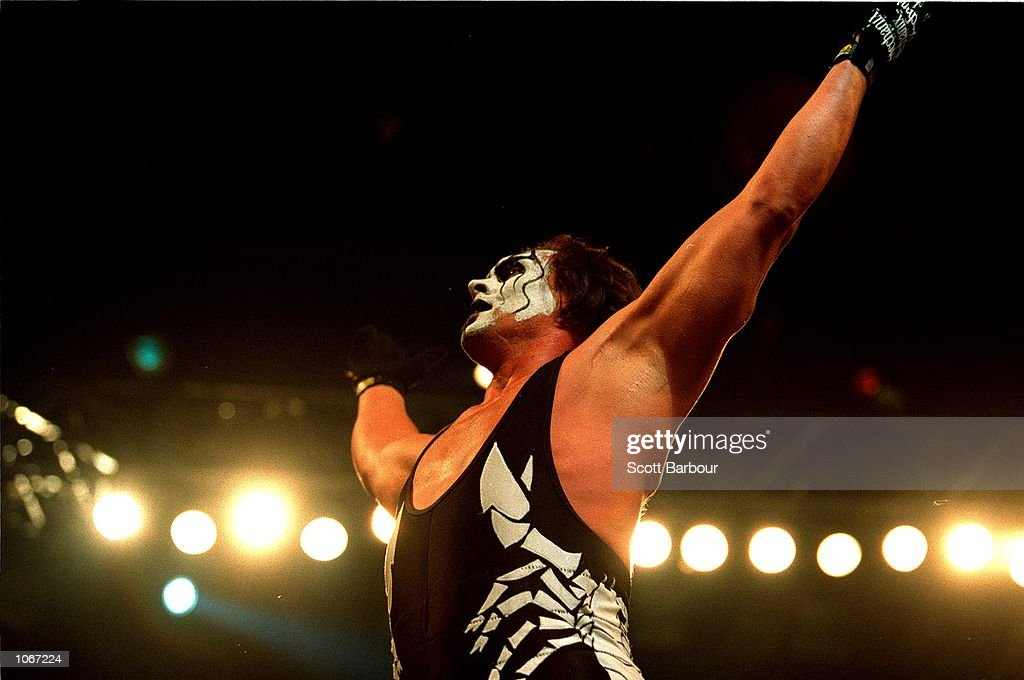 Sting celebrates after defeating Mike Sanders after their bout at the World Chamionship Wrestling ''Thunder Down Under'' night at the Sydney...
