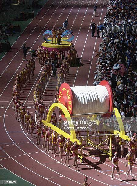 The Bondi Surf Club parade during the Closing Ceremony for the Sydney 2000 Olympic Games held at Stadium Australia at Homebush Bay in Sydney...