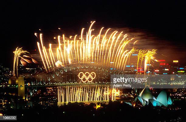 The Sydney Harbour Bridge is lit up with Fireworks after the Closing Ceremony of the Sydney 2000 Olympic Games Sydney Australia Mandatory Credit Adam...