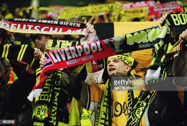 Borussia Dortmund fans during the UEFA Champions League Group B match against Liverpool played at Anfield in Liverpool England Liverpool won the...