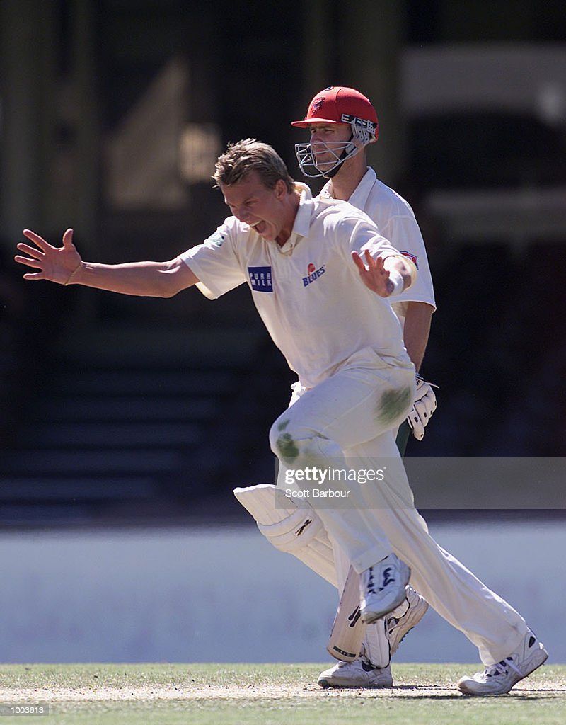 Brett Lee of New South Wales celebrates after taking a wicket against South Australia during Day 3 of the Pura Cup match at the Sydney Cricket Ground in Sydney, Australia. DIGITAL IMAGE. Mandatory Credit: Scott Barbour/ALLSPORT