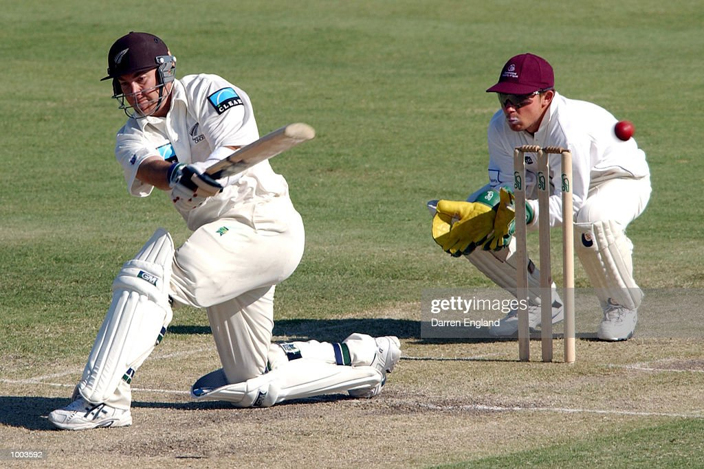 Craig McMillan of New Zealand hits four runs against the Queensland Academy of Sport at Allan Border Field in Brisbane, Australia. DIGITAL IMAGE. Mandatory Credit: Darren England/ALLSPORT