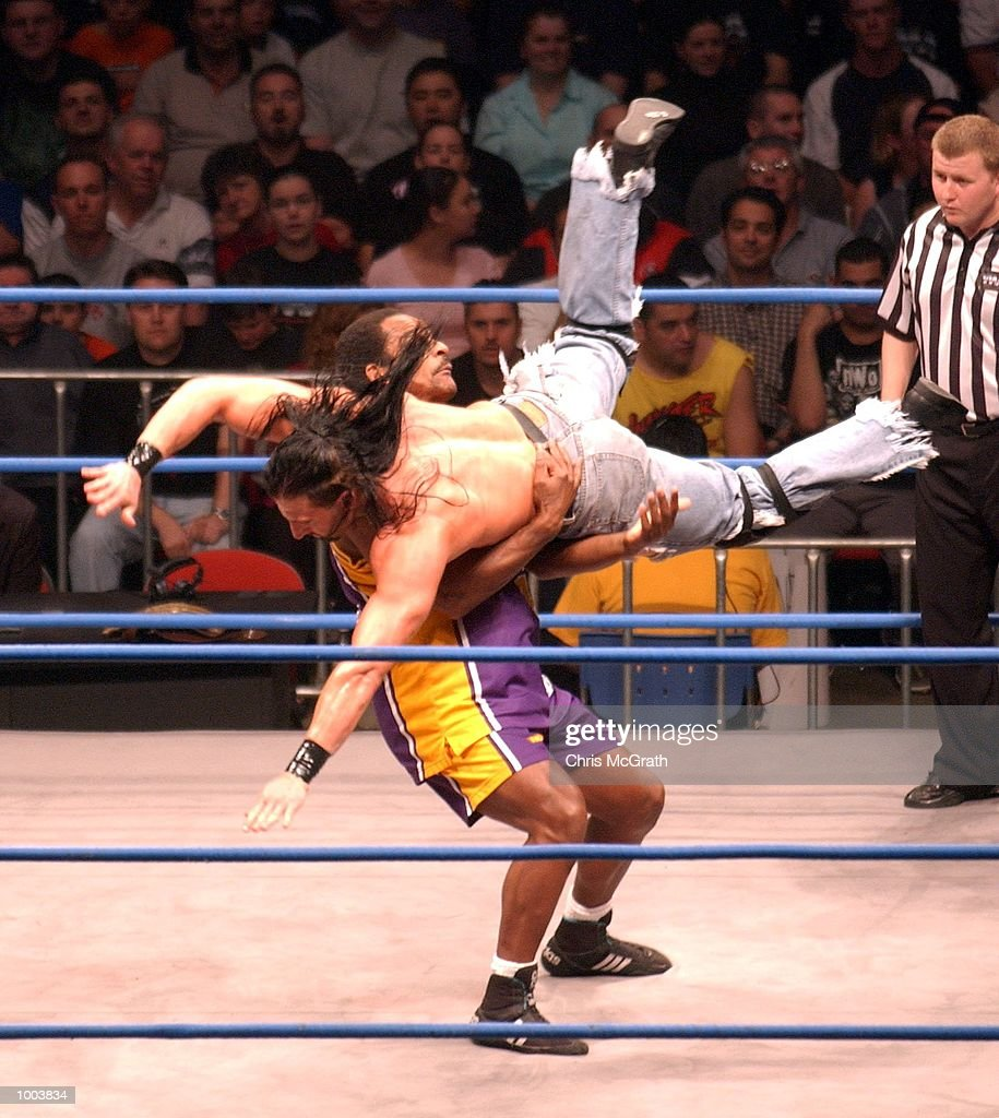 Devon Storm takes out Norman Smiley during the Hardcore Match at the WWA Wrestling 'Inception' fight night held at the Sydney Superdome, Sydney, Australia. DIGITAL IMAGE Mandatory Credit: Chris McGrath/ALLSPORT