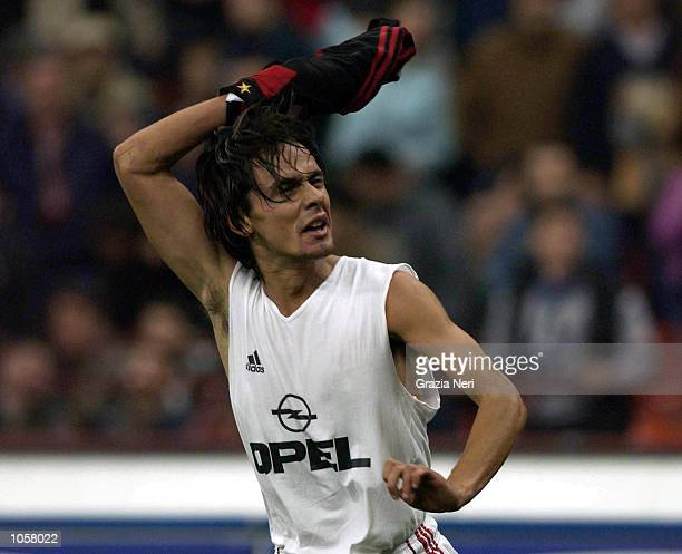 Filippo Inzaghi of AC Milan celebrates scoring during the Serie A match between Inter Milan and AC Milan played at the Guiseppe Meazza Stadium San...