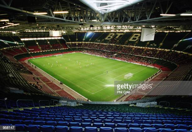 General view of an empty Millennium Stadium during the FIFA 2002 World Cup Qualifier against Belarus played at the Millennium Stadium in Cardiff...