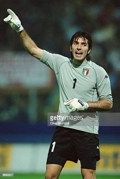 Gianluigi Buffon of Italy in action during the FIFA 2002 World Cup Qualifier against Hungary played at the Ennio Tardini Stadium in Parma Italy Italy...
