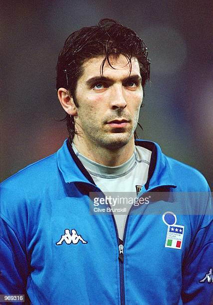 Goalkeeper Gianluigi Buffon of Italy lines up prior to the FIFA 2002 World Cup Group Eight Qualifying match against Hungary played at the Ennio...