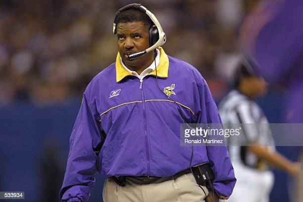 Head coach Dennis Green of the Minnesota Vikings calls plays as his team is defeated by the New Orleans Saints at the Superdome in New Orleans...