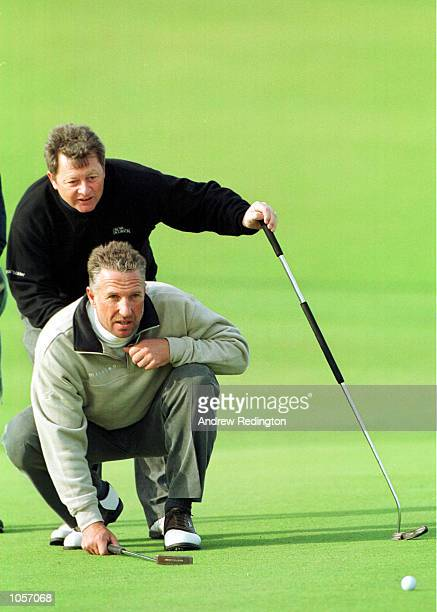 Ian Woosnam of Wales with his playing partner former cricketer Ian Botham at Kingsbarns during the final practice round prior to the inaugural...