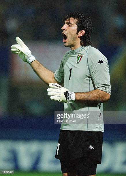 Italy Goalkeeper Gianluigi Buffon in action during the FIFA 2002 World Cup Qualifier against Estonia played at the Ennio Tardini Stadium in Parma...