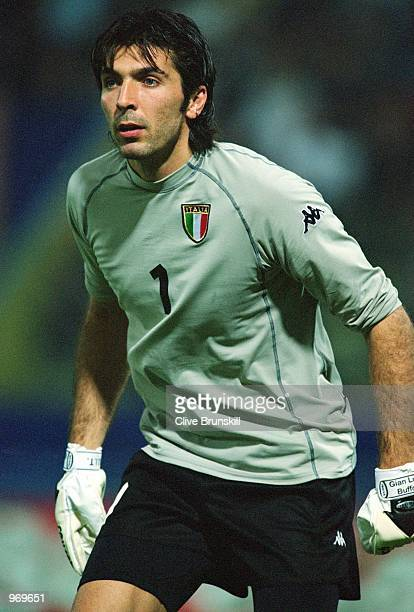 Italy Goalkeeper Gianluigi Buffon in action during the FIFA 2002 World Cup Qualifier against Hungary played at the Ennio Tardini Stadium in Parma...