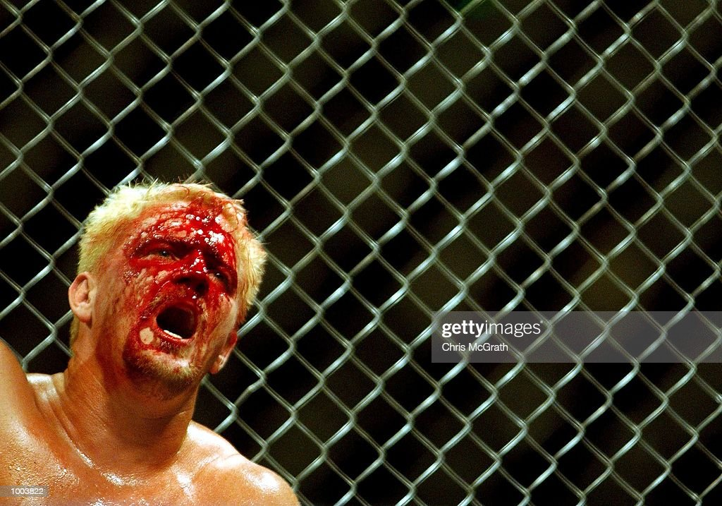 Jeff Jarrett feels the pain during the cage fight bout during the WWA Wrestling 'Inception' fight night held at the Sydney Superdome, Sydney, Australia. DIGITAL IMAGE Mandatory Credit: Chris McGrath/ALLSPORT