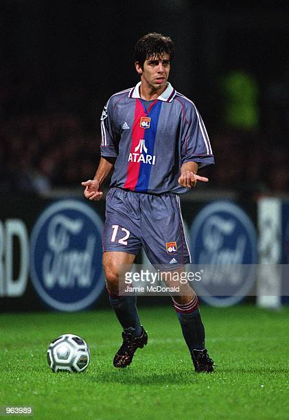 Juninho of Lyon on the ball during the UEFA Champions league match between Olympic Lyonnais and Barcelona played at the Stade de Gerland in Lyon...
