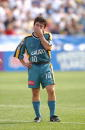 Mauricio Cienfuegos of the Los Angeles Galaxy appears frustrated against the San Jose Earthquakes during the Major League Soccer Cup in Columbus Ohio...